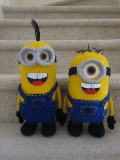 Crochet Corner: Minion Crochet Pattern- thinking that I would like them with a closed mouth smile for my boy.
