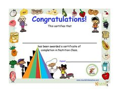 Certificate Of Completion In Nutrition Education Class For Kids Nutrition Education, Smart Nutrition, Nutrition Month, Nutrition Classes, Proper Nutrition, Kids Nutrition, Health And Nutrition, Nutrition Quotes, Nutrition Tracker