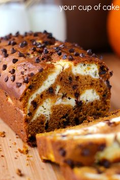 Cream Cheese Pumpkin Bread with chocolate chips, pumpkin desserts and recipes