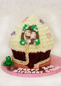 Tangled Themed Giant Cupcake