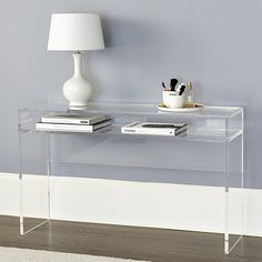 Outfit your living room or den with a stylish media console. Add storage with style in a media console, console storage table and more with Ballard Designs! Lucite Desk, Lucite Furniture, Acrylic Furniture, Acrylic Nightstand, Shelf Furniture, Luxury Furniture, Modern Furniture, Ballard Designs, Acrylic Table