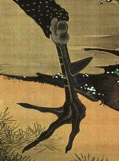 伊藤若冲/Detail. Ito Jakuchu rooster. Japanese hanging scroll. Edo period.