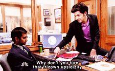 Jean-Ralphio: Why don't you turn that frizown upsidizity? (Parks and Recreation) Parks And Rec Quotes, Parks N Rec, Tv Quotes, Parks And Recreation, Movie Quotes, Witty Quotes, John Ralphio, You Make Me Laugh, Senior Quotes