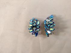 Sherman AB Blue Clip On Earrings, Silver Tone Metal, Mint Condition by MySimpleDistractions on Etsy