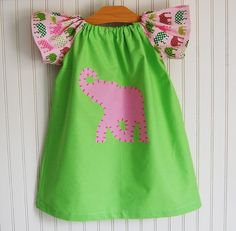 Preppy Elephant Dress  1218 MOS 4/5T 6/7 by The by thetrendytot, $42.00
