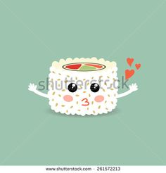 Vector illustration of a love cartoon roll, sushi. Roll California. Philadelphia roll. Cute japanese food. Eps 10