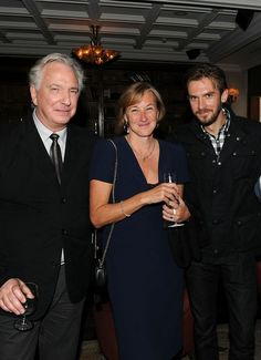 "Sep 13, 2014 Alan Rickman, Gail Egan & Dan Stevens at ""A Little Chaos"" world premiere party hosted by Grey Goose vodka and Soho House Toronto during TIFF"