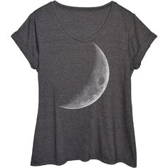 LC trendz Plus Heather Charcoal Crescent Moon Tee ($17) ❤ liked on Polyvore featuring plus size women's fashion, plus size clothing, plus size tops, plus size t-shirts, plus size, graphic design t shirts, cotton tee, graphic design tees, charcoal tee and cotton graphic tee