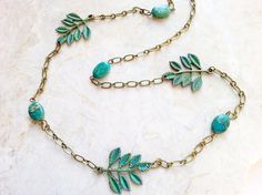 Jasper Leaf Necklace - Long Necklace - Hand Painted Leaf Jewelry - Verdigris Patina Forest Woodland Necklace - Nature Jewelry - Tree Leaves