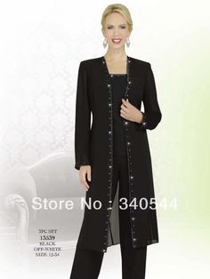 Mother of the Bride Pant Suits Black long coat 2014 New Fashion sequin party dresses Mother of the Bride Dresses with jacket US $112.00