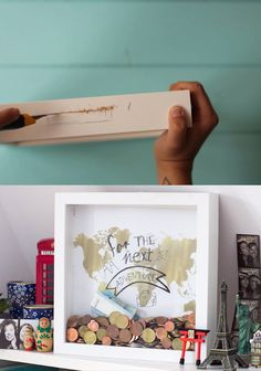 Travel money box in the frame Reise-Spardose im Rahmen Travel money box in the frame / money gift Fabric Crafts, Wood Crafts, Diy And Crafts, Don D'argent, Woodworking Projects, Diy Projects, Woodworking Bench, Ideas Prácticas, Travel Money