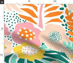 Large Florals Pink Yellow Teal Orange - Spoonflower Teal Orange, Pink Yellow, Spoonflower, Florals, Abstract, Artwork, Fabric, Floral, Summary