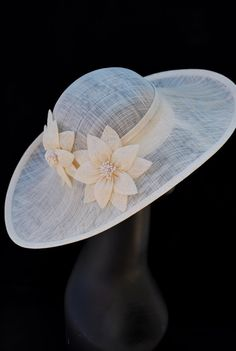 Ivory Sinamay Derby Hat Womens Tea Party Hat by QueenSugarBee