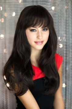 £26.99 - Dark brown wig in razor cut, face frame style: Lucy : Long Wigs