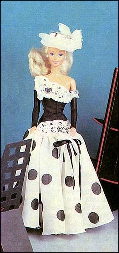 "free sewing pattern for Barbie doll gown    ""To [skachat]""  press for link to the pattern in a zip file"