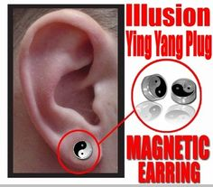 Illusion Ying Yang Magnetic Stud Earring (Chrome)