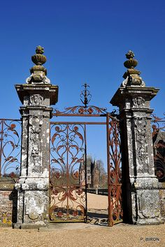 Rusted iron gates at Château de Carrouges in Carrouges, Orne, Lower Normandie