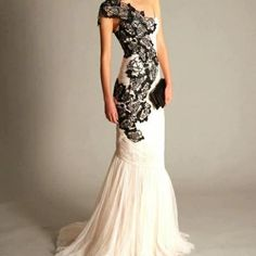 wedding dress with black detail www.brayola.com