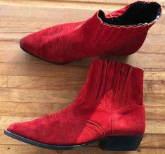 Red Suede Italian Ankle Boots Size 7 90s Boots Cowgirl Boho Vintage Chunky Heel | eBay