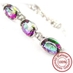Natural Mystic Rainbow Topaz #Bracelet Genuine Solid 925 Silver  Only $199.9 => Save up to 60% and Free Shipping => Order Now!