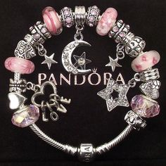Authentic Pandora Bracelet with Charms Pink I Love you to the Moon and Back