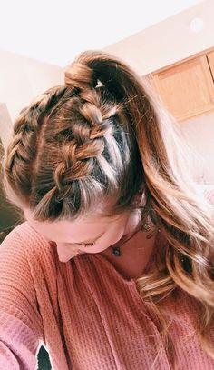 Double braids Short Hair Styles Easy, Medium Hair Styles, Curly Hair Styles, Hair Medium, Medium Long, Hair Braiding Styles, Plait Styles, Best Hair Dye, Easy Hairstyles For Long Hair