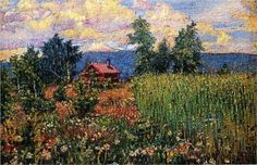 Landscape with a Pink House - David Burliuk, 1910, The Russian Museum, St. Petersburg, Russia