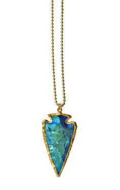 mystic TITANIUM blue arrowhead necklace