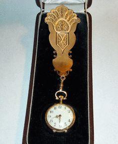 Palais-Royal-Antique-18k-Gold-Holder-Chatelaine-amp-18k-Watch-by-Le-Coultre-amp-Cie
