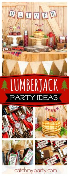 Check out this awesome Little Lumberjack birthday party! Love the layered pancake birthday cake!! See more party ideas and share yours at http://CatchMyParty.com