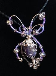 Amethyst Abstract Butterfly wire wrap pendant
