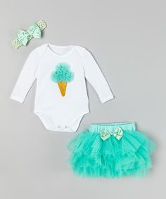 Look at this White & Teal Ice Cream Cone Bodysuit Set - Infant on #zulily today!