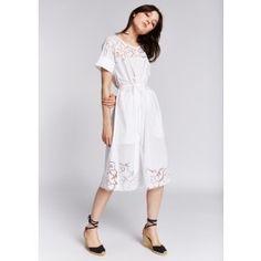 White Perforated Floral Midi Dress @ TARA JARMON