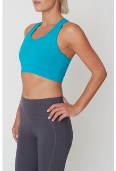 Our organic yoga bra top can be worn alone as a sports bra or layered underneath our vests. Made with Bambor, with a contrast binding and cool racer back - this is an activewear essential. - Balance Bra in Seafoam. Bra Tops, Tank Tops, Yoga Bra, Best Yoga, Pilates, Vests, Activewear, Contrast, Organic