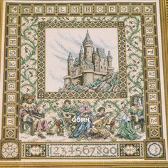 Teresa Wentzler Kit CASTLE SAMPLER Cross Stitch Kit Fantasy Musicians by NeedleLittleTherapy on Etsy Just Cross Stitch, Cross Stitch Kits, Crewel Embroidery Kits, Vintage Cross Stitches, Needlepoint, Bohemian Rug, Medieval, Vintage World Maps, Castle