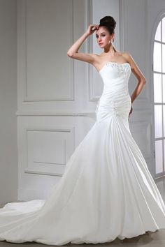 Sweetheart Romantic Ivory Bridal Gowns - Order Link: http://www.theweddingdresses.com/sweetheart-romantic-ivory-bridal-gowns-twdn2925.html - Embellishments: Beading,Ruffles; Length: Court Train; Fabric: Taffeta; Waist: Dropped - Price: 188.57USD