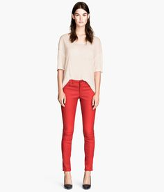 Leather trousers £179.99 DESCRIPTION PREMIUM QUALITY. Slim-fit leather trousers with a seam at the knees, a regular waist and front and back pockets. DETAILS 100% leather. Specialist clean only