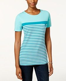Karen Scott Striped Pocket Pullover Top, Only at Macy's