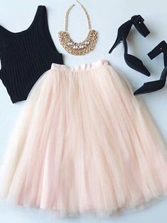tulle skirt (pink) & black crop top: