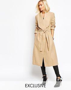 Religion Women's 'Passage' Drape front Camel wool winter Duster coat with belt