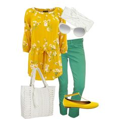 Yellow floral, green pants