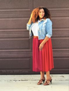 Color Blocked Pleated Skirt and a Tee