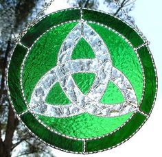 "Green Stained Glass Trinity Knot Suncatcher - Celtic Home Decor - 9 1/2"" - $38.95--- Celtic Designs, Irish Designs, Irish Sun Catchers - Glass Suncatchers, Stained Glass Décor, Stained Glass Sun Catchers -  Stained Glass Design - See more stained glass designs at www.AccentonGlass.com"