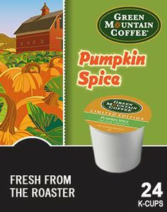 Green Mountain *LIMITED EDITION* Fair Trade PUMPKIN SPICE Flavored Coffee 1 Box of 24 K-Cups - http://goodvibeorganics.com/green-mountain-limited-edition-fair-trade-pumpkin-spice-flavored-coffee-1-box-of-24-k-cups/