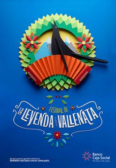 Combo of texture, colors, and type make this ad successful! Fiestas y tradiciones colombianas BCS on Behance