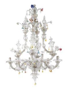 An Italian glass and coloured glass chandelier, Venetian, Murano, 18th Century.