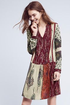 Slide View: 1: Patchwork Print Shirtdress