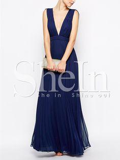 Blue+Sleeveless+V+Neck+Pleated+Maxi+Dress+32.99