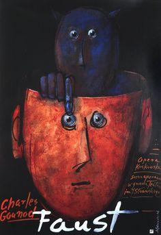 Faust Original Polish opera poster by Mieczyslaw Gorowski Graphic Design Posters, Graphic Design Illustration, Graphic Art, Illustration Art, Poster Designs, Cover Design, Art Design, Book Design, Arte Do Piano