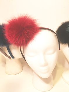 Holiday Red Pom Pom Headband  from my Etsy shop https://www.etsy.com/listing/499478225/red-pom-pom-headbands-fur-headband-red